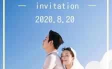 蓝色清新文艺婚礼邀请函电子请柬H5模板缩略图