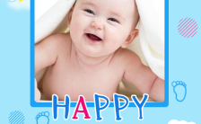 蓝色温馨满月/百日/生日派对可爱生日庆祝宝宝H5模板缩略图