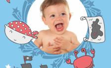 蓝色海洋主题男孩宝宝生日百日邀请函H5模板缩略图