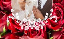 浪漫唯美红色婚庆喜宴邀请函通用H5模板缩略图
