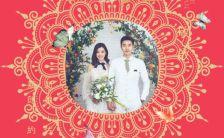中式婚礼喜宴繁体字邀请函轻奢中国风高端大气大红色H5模板缩略图