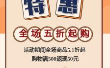 黄色时尚大气五一促销劳动节特惠宣传手机海报缩略图