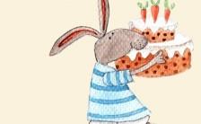 创意手绘兔子生日祝福手机海报缩略图