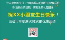 创意简约绿色生日邀请函贺卡朋友圈通用手机海报缩略图